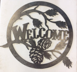 Welcome Home Circle W/Pinecones