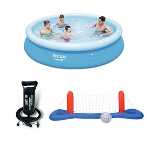Bestway 10 Ft Fast Set Pool With Hand Pump & Volleyball / Basketball Set Bundle