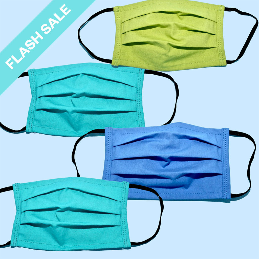 green and blue face masks