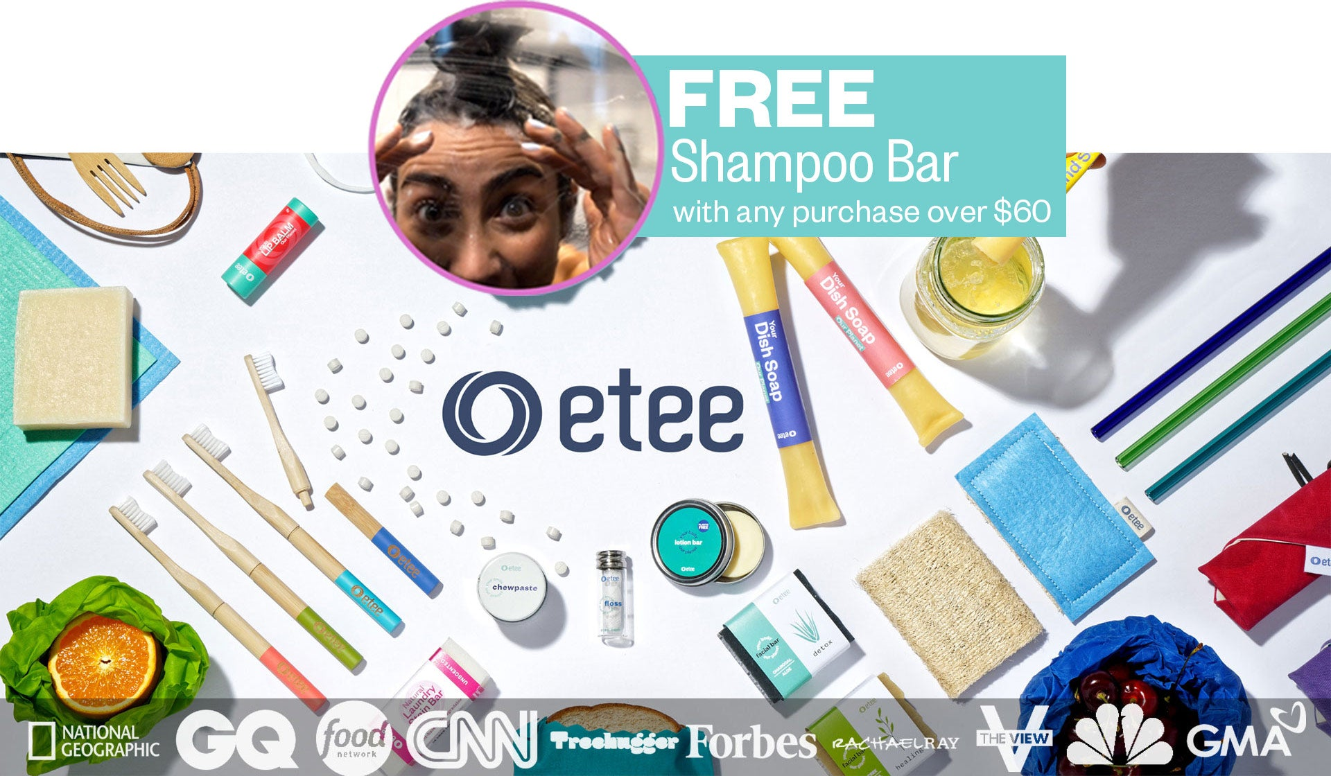 free shampoo bar with every purchase over $60