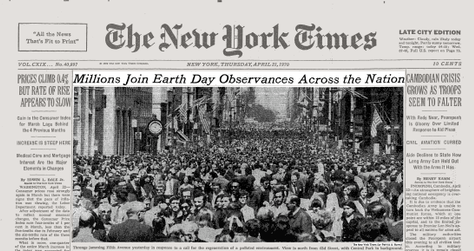 New york times front page earth day