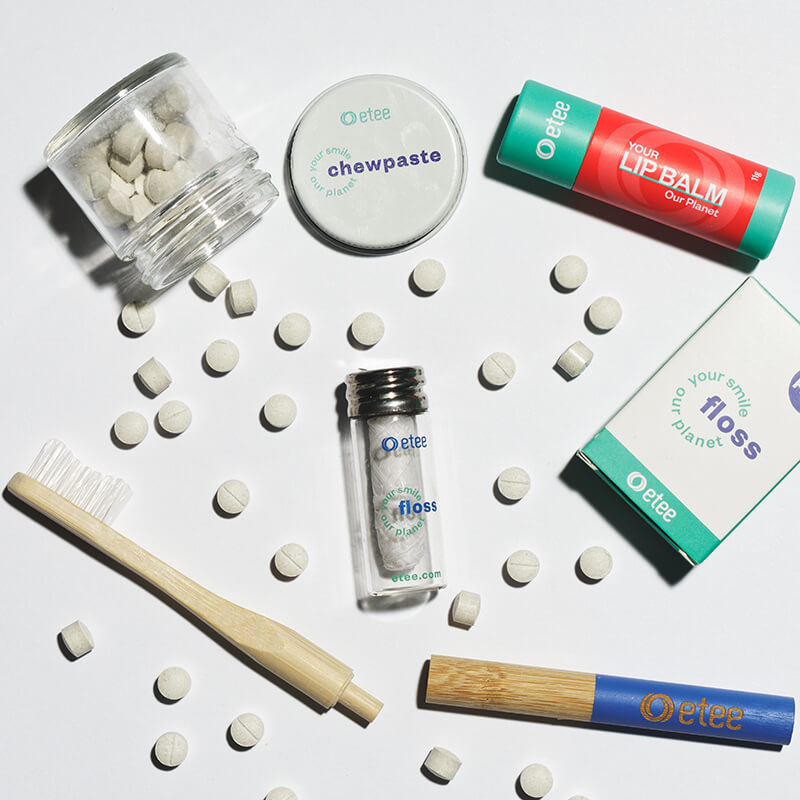 dental products and toothbrush with blue highlight