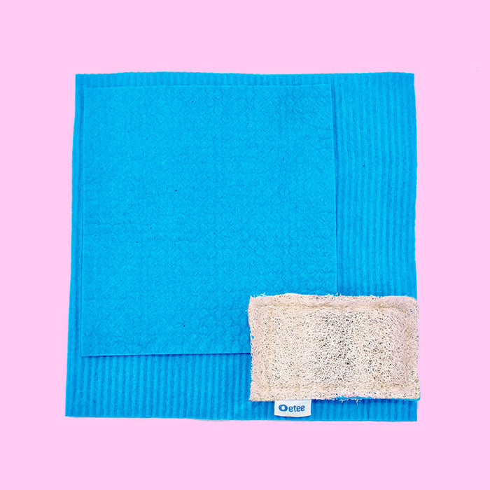 Plastic Free Sponge  & 2 Cellulose Cleaning Cloths