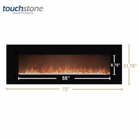 "Touchstone OnyxXL  72"" Wall Mounted Electric Fireplace (80005) - Electric Fireplace Shop"