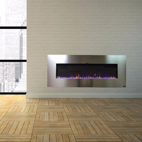 "Touchstone AudioFlare 50"" Stainless Recessed/Wall Mounted Electric Fireplace (#80024) - Electric Fireplace Shop"