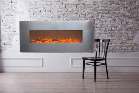 "Touchstone Onyx Stainless 50"" Wall Mounted Electric Fireplace (#80026) - Electric Fireplace Shop"