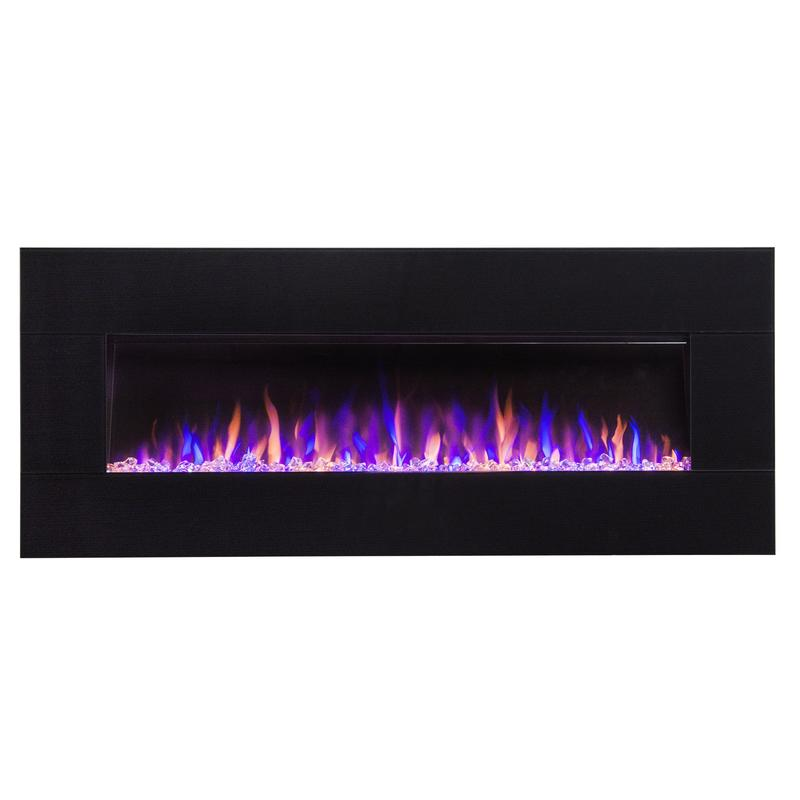 "Touchstone AudioFlare 50"" Black Glass Recessed/Wall Mount Electric Fireplace (#80035) - Electric Fireplace Shop"