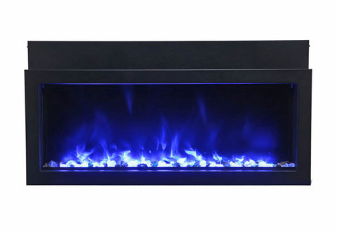 "Image of Amantii Extra Slim 60"" Indoor or Outdoor Electric Fireplace - Electric Fireplace Shop"