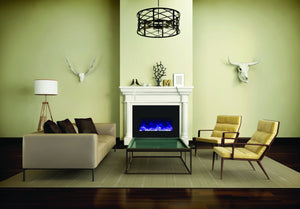 Amantii Large Electric Fireplace Insert with Black Glass Surround (INS-33-4230-BG)