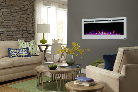 "Touchstone Sideline White 50"" Recessed Electric Fireplace (#80029) - Electric Fireplace Shop"