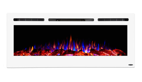 "Image of Touchstone Sideline White 50"" Recessed Electric Fireplace (#80029) - Electric Fireplace Shop"