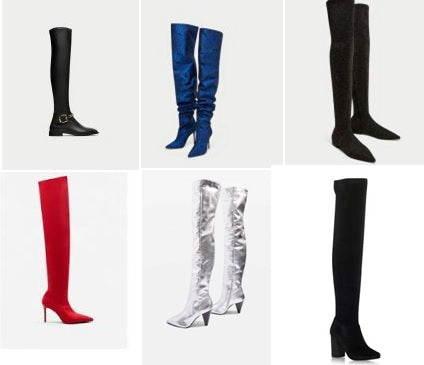 e792c97e80c Zara – Blue Floral Print Boots £119.00 . Zara – Flat Multi-coloured Boots  £49.99 . Mango – Red Over the Knee Boots £59.99 .