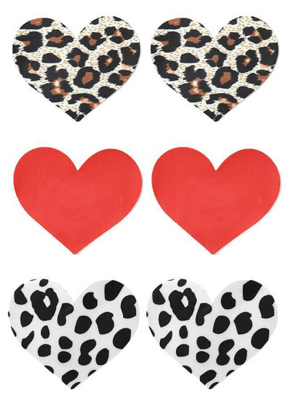 Heart Shaped Nipple Covers - 3 pairs