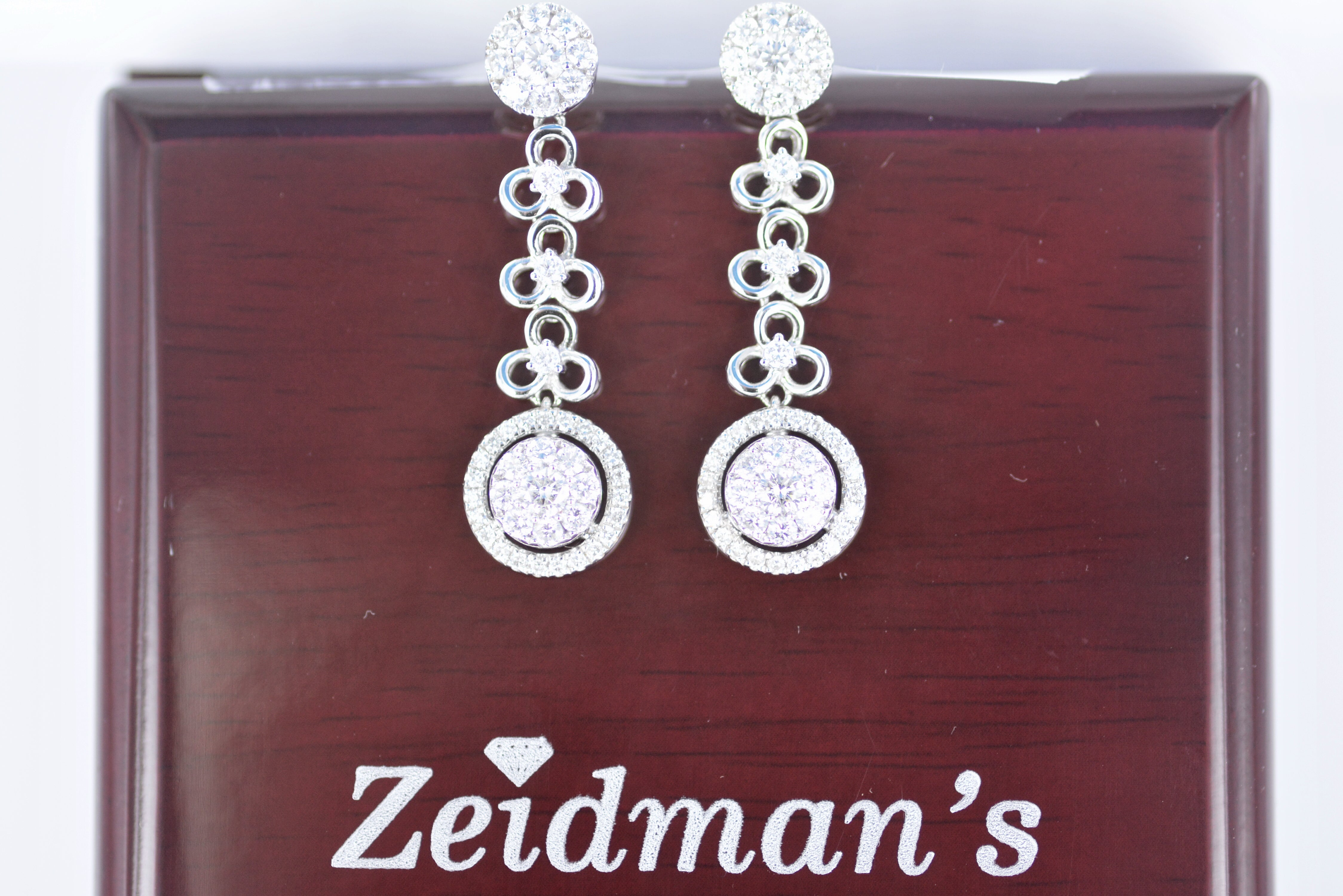 14K White Gold Diamond Dangle Earrings 1.90 Tw
