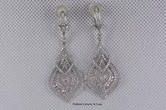 14K Ladies White Gold Dangle Diamond Earrings 3.30TW