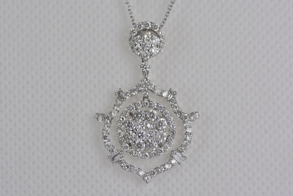 18K White Gold Diamond Pendant With Chain 2.41TW