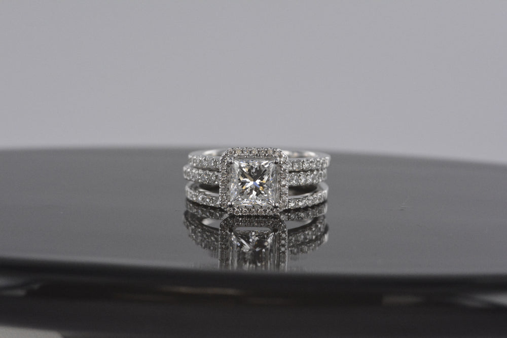 Ladies Diamond Engagement 3 Piece Ring 14K White Gold 1.61 Princess 1.40 Rounds