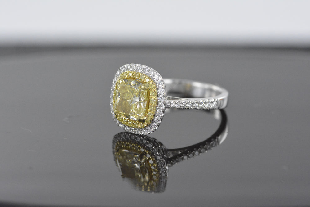 2.07 Yellow Cushion Cut 18K White Gold Ladies Diamond Ring