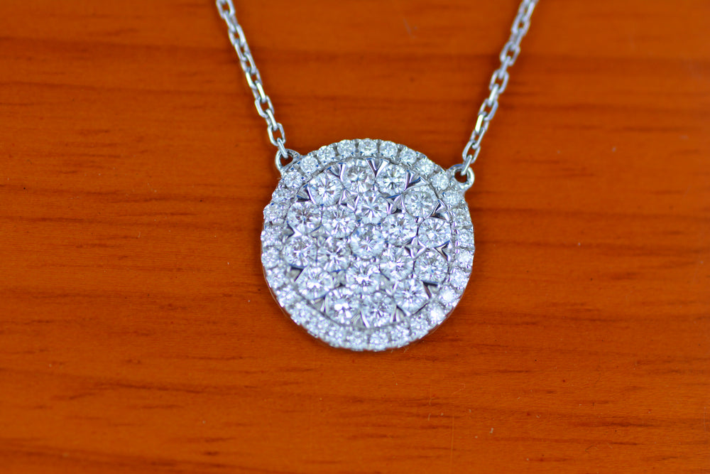 18K White Gold Round Diamond Pendant With Chain