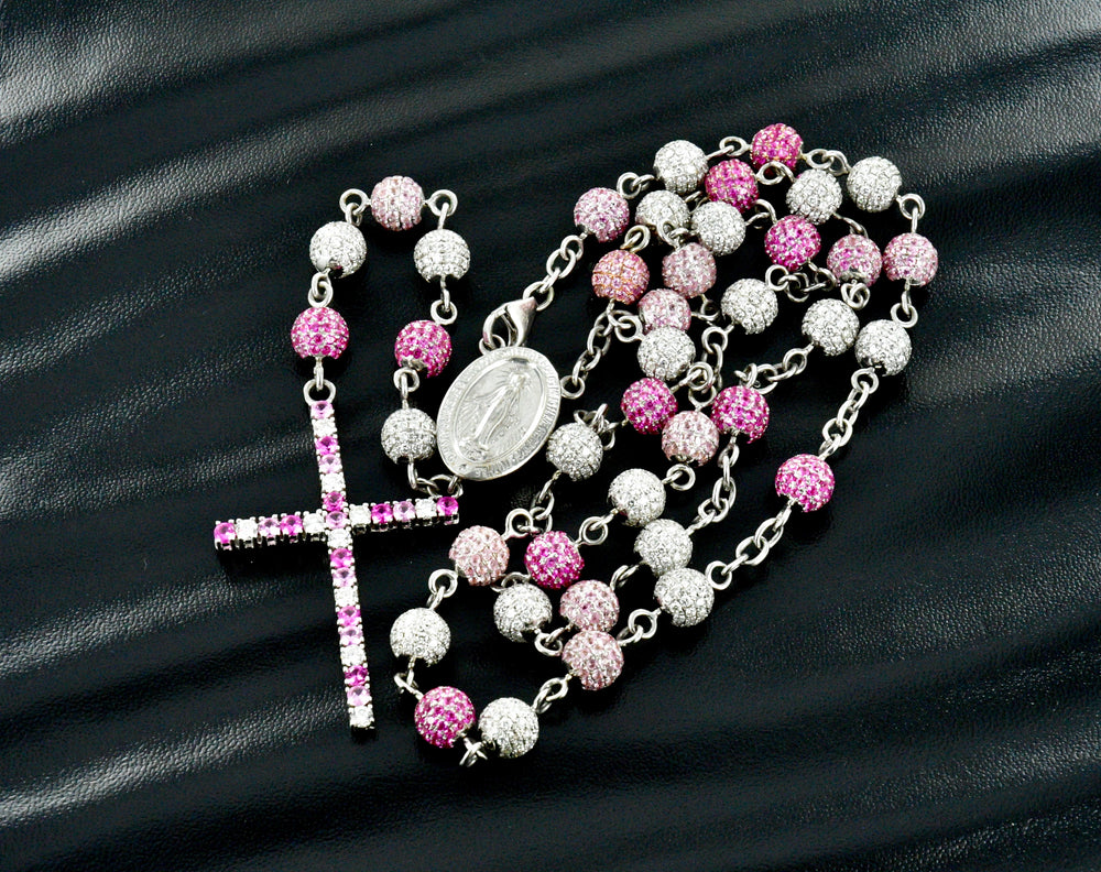 10 K White Gold Diamond and Pink Rosary 14.30TCW Diamonds 16.70 TCW Pink