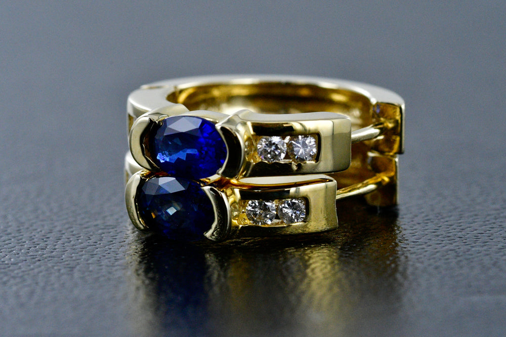 14K Gold w/ Sapphire and Diamonds Huggie Clip