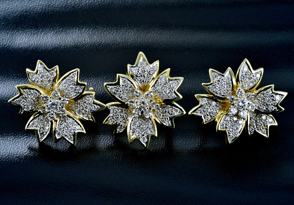 18K Gold and Diamond Flower 3 Piece Set