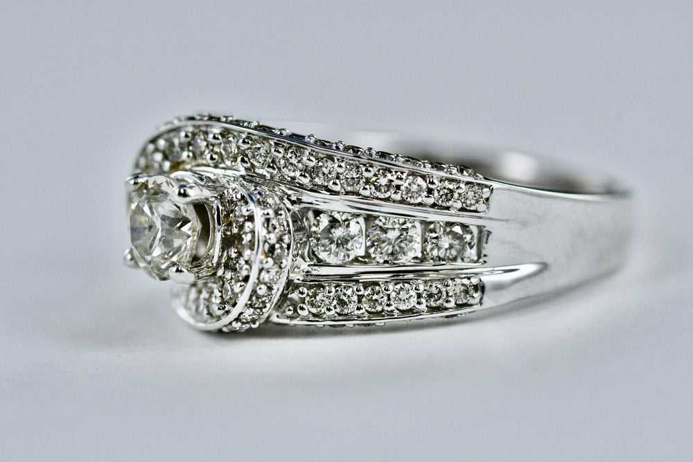 14K Ladies White Gold Diamond Ring 1.10 TCW Size 7 1/4