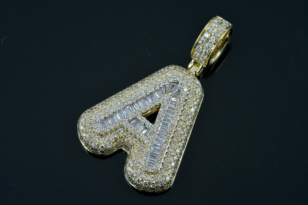 "14K Gold and Diamond Initial ""A"" Pendant 2.50 TCW Baguettes & Round"