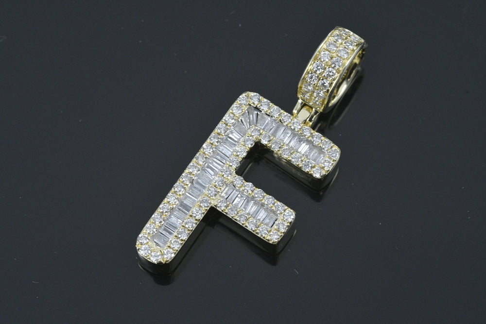 "14K Gold & Diamond Initial ""F"" 1.25 TCW Baguettes & Round Diamonds"