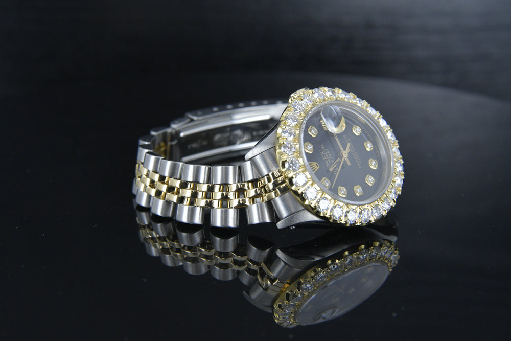 Rolex Datejust 26mm Two Tone 18k and Steel w/ Black Diamond Dial 6917