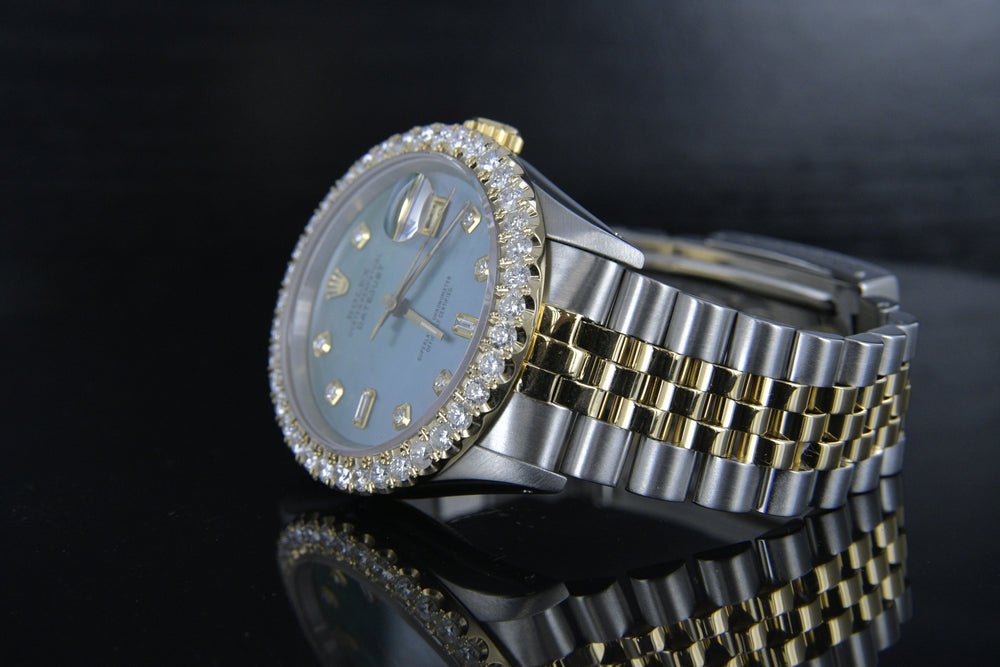 Rolex Datejust 36mm 18k Gold & Steel w/ Blue Mother of Pearl Diamond Dial 16233