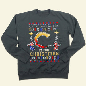 """C"" Is For Christmas Ugly Video Game Sweatshirt"