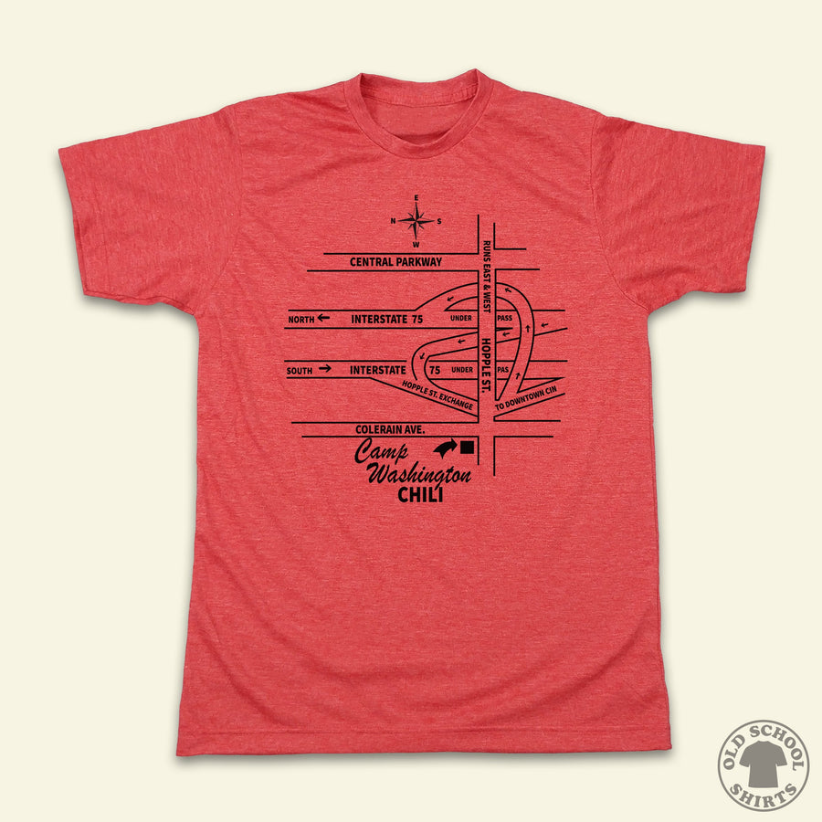 Camp Washington Chili Map - Old School Shirts- Retro Sports T Shirts