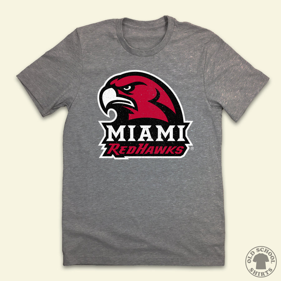 Miami Redhawks Logo Tee - Old School Shirts- Retro Sports T Shirts