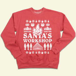 "Shillito's Elf ""Santa's Workshop"" Ugly Christmas Sweatshirt"