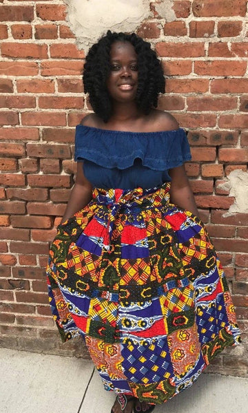 26c7bfbfc0 Patchwork Midi Skirt; African Clothing; African Skirt; the africanshop;  ankara