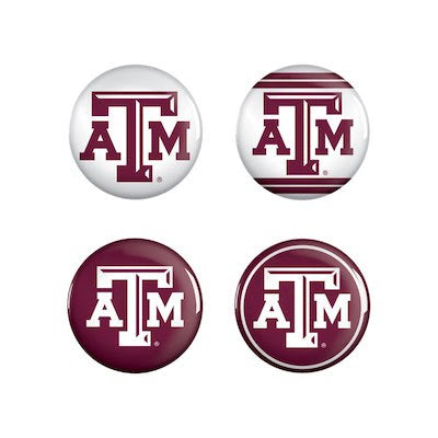 Texas A&M 4 Pack Buttons - TXAG Store