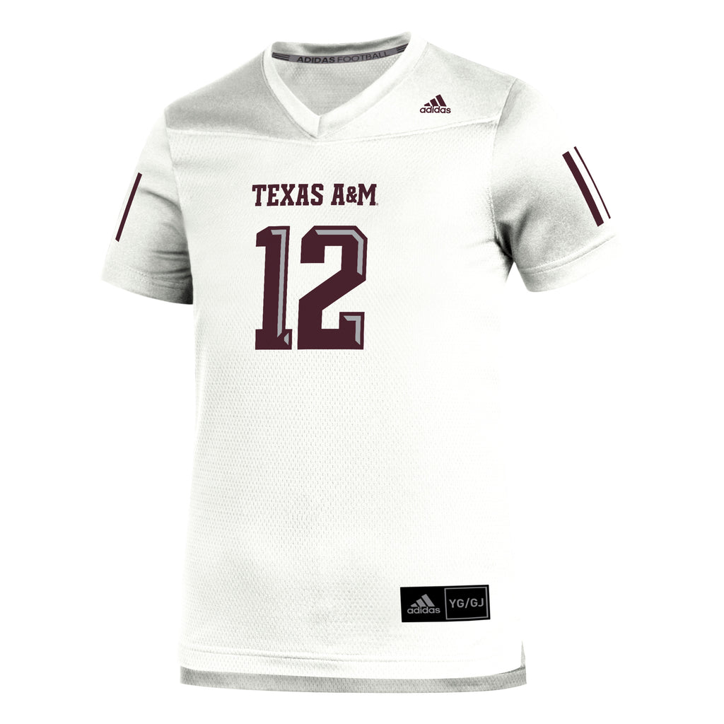 YOUTH Texas A&M Adidas White Replica Jersey - TXAG Store
