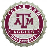 Texas A&M Distressed Bottle Cap Sign (Silver) - TXAG Store