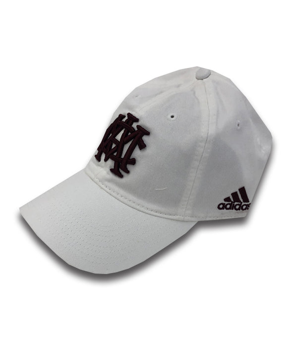 Texas A&M Adidas Adjustable Slouch - White w/ Maroon AMC Interlock - TXAG Store