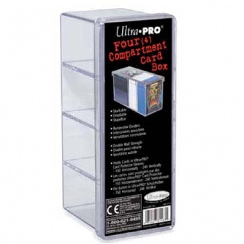 Ultra Pro - Card Storage Box - 4 Compartment Clear - 401 Games