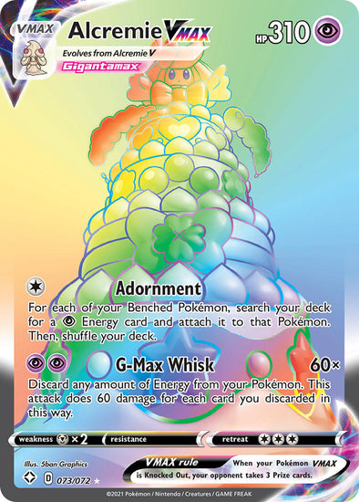 Alcremie VMAX (Hyper Rare) - 073/072 available at 401 Games Canada