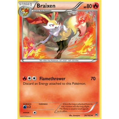 Buy Braixen - 26/162 - Reverse Foil and more Great Pokemon Products at 401 Games