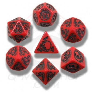 Dice Set - Q-Workshop - 7 Piece Set - Dragons - Red and Black - 401 Games