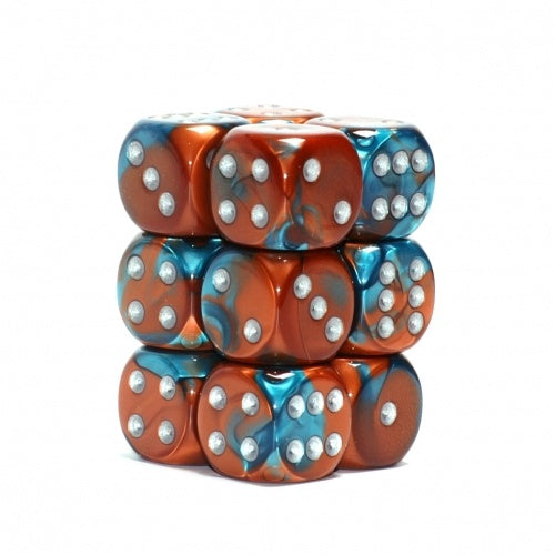 Dice Set - Chessex - 12D6 - Gemini - Copper-Teal/Silver - 401 Games