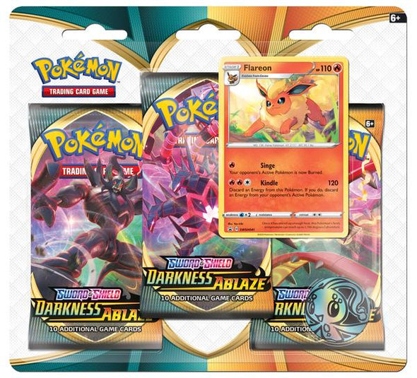 Pokemon - Darkness Ablaze 3 Pack Blister - Flareon (Pre-Order Aug 14,2020) - 401 Games