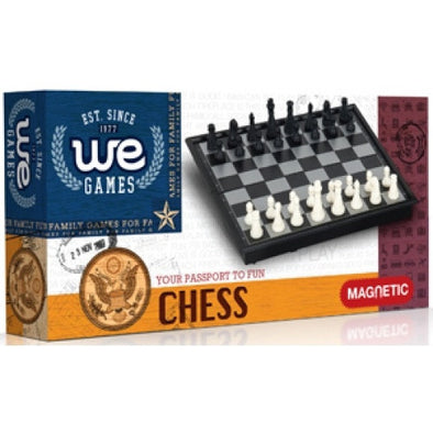 "Chess - 8"" Magnetic Folding Small Travel Size - Wood Expressions - 401 Games"