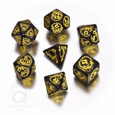 Dice Set - Q-Workshop - 7 Piece Set - Dragons - Black and Yellow - 401 Games