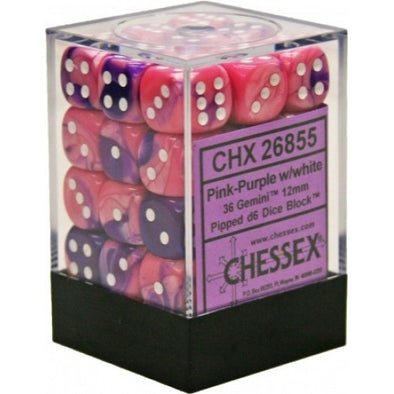 Buy Chessex - 36D6 - Gemini - Pink-Purple/White and more Great Dice Products at 401 Games