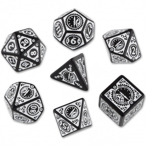 Buy Dice Set - Q-Workshop - 7 Piece Set - Steampunk Clockwork - Black/White and more Great Dice Products at 401 Games